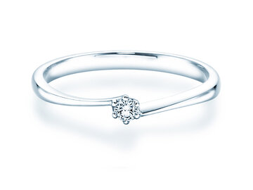 Engagement ring Devotion  in silver with diamond 0,05ct G/SI