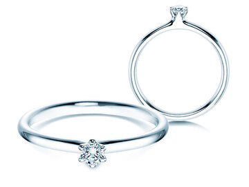 Engagement ring Classic  in silver with diamond 0,10ct G/SI