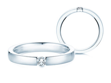 Engagement ring Infinity in silver with diamond 0,10ct G/SI