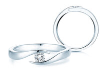 Engagement ring Twist  in silver with diamond 0,15ct G/SI