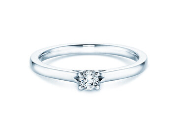 Engagement ring Romance  in 14ct white gold with diamond 0,20ct G/SI