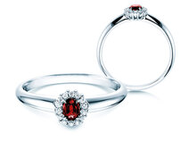 Ruby ring Jolie in 14ct white gold with diamonds 0,06ct