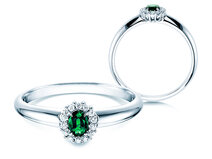 Emerald ring Jolie  in 14ct white gold with diamonds 0,06ct