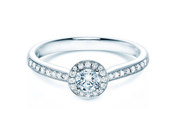 Engagement ring Halo Petite in 18ct white gold in diamond 0,50ct