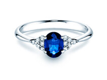 Sapphire ring Glory1,00ct in 18ct white gold with diamond 0,12ct