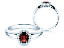 Engagement ring Windsor in 14K white gold with ruby 0.60ct and diamonds 0.12ct