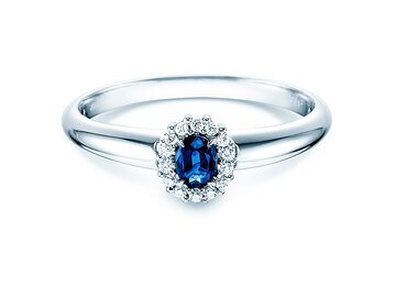 Engagement ring Jolie in 14K white gold with sapphire 0.25ct and diamonds 0.06ct