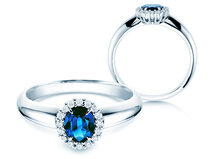 Sapphire engagement ring Windsor  in 18ct white gold with diamonds 0,12ct