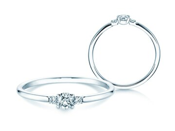 Engagement ring Glory Petite in 14K white gold with diamonds 0.20ct