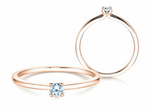 Engagement ring Classic 4 in 14K rosé gold with diamond 0.10ct